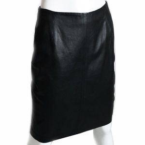 Bally Black Leather Pencil Skirt Sexy Size 40